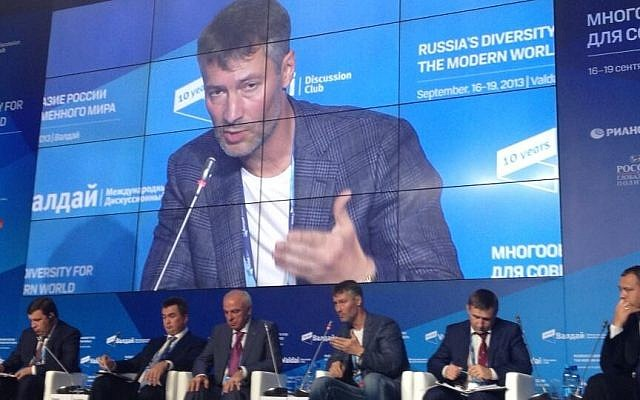 Yevgeny Roizman speaks at a conference this week, in Valdai, Russia (photo credit: @hkanbolat via Twitter)