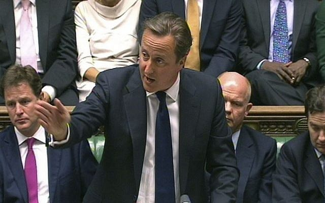 In this image taken from video, Britain's Prime Minister David Cameron speaks during a debate on Syria, in Britain's parliament, London, Thursday August 29, 2013. (Photo credit: AP)