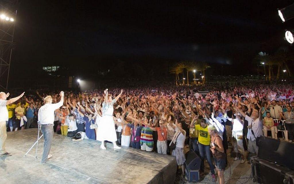 Evangelical Christians celebrate at Ein Gedi, last week (Courtesy of the International Christian Embassy Jerusalem)
