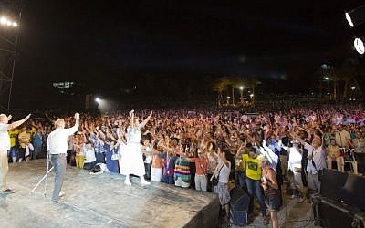 Evangelical Christians celebrate at Ein Gedi, last week (Courtesy of the International Christian Embassy Jerusalem)