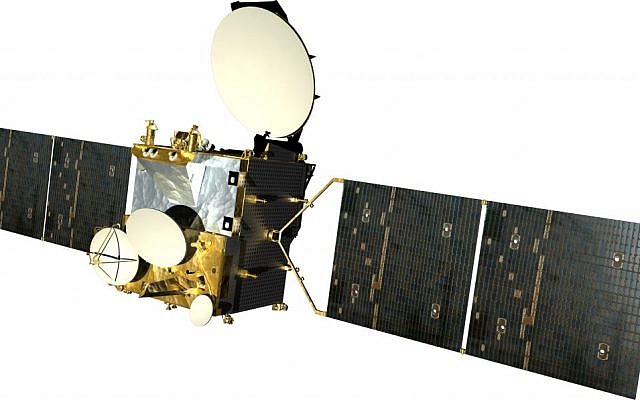 The Amos 3 satellite. (photo credit: Spacecom via Tsahi Ben-Ami /flash90)