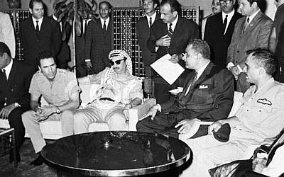 King Hussein, far right, alongside Gamal Abdel Nasser, Yasser Arafat and Muammar Ghaddafi in 1970 (Photo credit: Palestinian Authorities via Abed Rahim Khatib/ Flash 90)