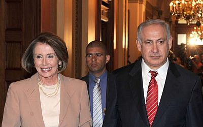 Nancy Pelosi with Israeli Prime Minister Benjamin Netanyahu at the White House in May 2009 (Moshe Milner/GPO/Flash90)