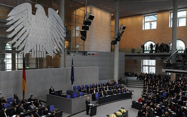 President Shimon Peres speaking at the Bundestag in Berlin, January 27, 2010 (photo credit: Amos Ben Gershom/GPO/Flash90)