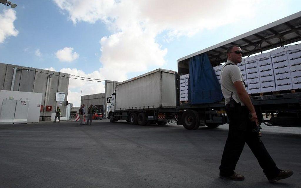Illustrative photo of trucks at the Kerem Shalom Crossing between Israel and the Gaza Strip. (photo credit: Yossi Zamir/Flash90)