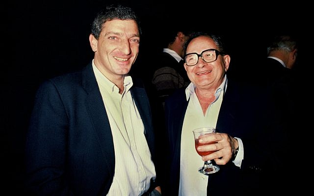A 1985 photo of Rafi Eitan, right, a former senior Mossad officer and director of Lakam, the Bureau for Scientific Relations within the Defense Ministry, which ran Jonathan Pollard. (photo credit: Moshe Shai/Flash 90)