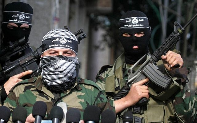 Members of the Al-Aqsa Martyrs' Brigade give a press conference in Gaza City, Gaza, January, 2011 (photo credit: Mohammed Othman/Flash90)