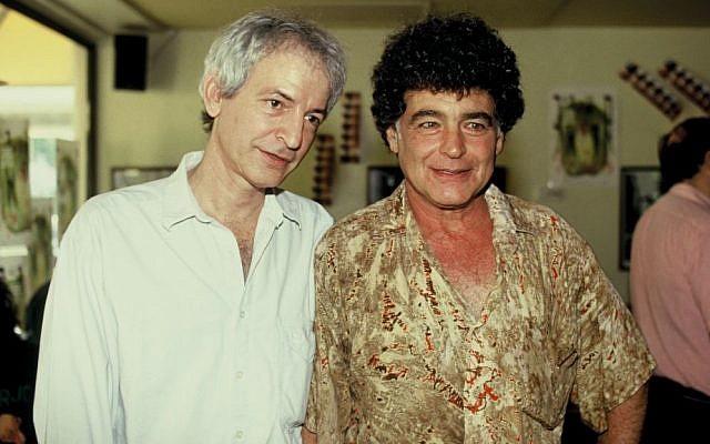 Meir Ariel (right) with fellow singer Shalom Hanoch (Photo credit: by Moshe Shai/FLASH90)