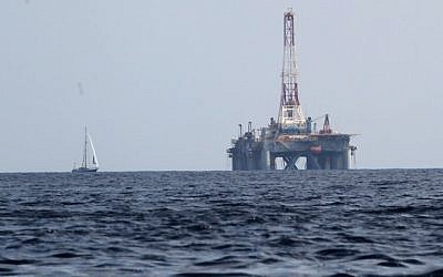 Illustrative photo of an oil rig in the Mediterranean Sea. (Nati Shohat/Flash90)