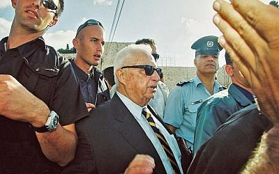 Ariel Sharon visits the Temple Mount, September 28, 2000. The visit was credited with setting off the Second Intifada. (photo credit: Flash90)