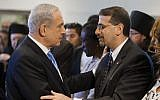 Prime Minister Benjamin Netanyahu (left) with US Ambassador Dan Shapiro in April 2013. (Flash90)