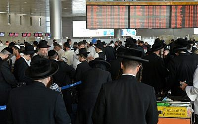 Hasidic Jews en route to Uman for Rosh Hashanah celebrations, Monday (photo credit: Yossi Zeliger/Flash90)