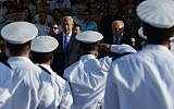 Prime Minister Benjamin Netanyahu (left) and president Shimon Peres attend a graduation course ceremony for IDF Naval officers at the navy training base in Haifa. September 11, 2013. (Kobi Gideon/GPO/FLASH90