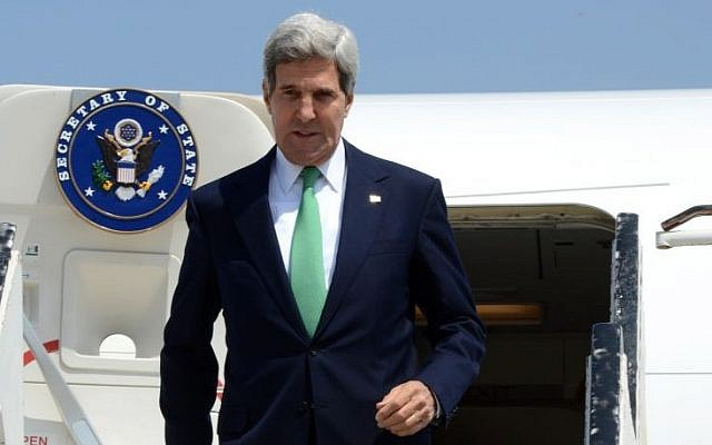 US Secretary of State John Kerry arrives in Israel, September 15, 2013. (photo credit: Matty Stern/US Embassy Tel Aviv/Flash90)