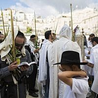 An ultra-Orthodox police officer spread his prayer shawl over his head as he takes part in a mass prayer in front of the Western Wall in Jerusalem, Judaism's holiest site, during the priestly blessing, Sunday, September 22, 2013 (photo credit: Yonatan Sindel/Flash90)