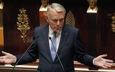 France's Prime Minister Jean-Marc Ayrault delivers a speech at the National Assembly in Paris, on Wednesday (photo credit: AP/Christophe Ena)