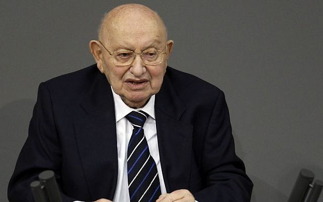 This Jan 27, 2012 file photo shows Holocaust survivor Marcel Reich-Ranicki speakinh during a Holocaust hour of remembrance at the German Federal Parliament, Bundestag, in Berlin. (Photo credit: AP/Michael Sohn, File)
