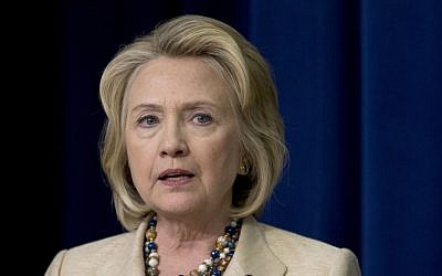 Former US secretary of state Hillary Clinton (photo credit: AP/Carolyn Kaster)