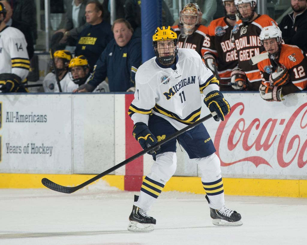 Zach Hyman has been drafted to the NHL and currently plays for the University of Michigan. (photo credit: Martin Vloet/Michigan Photography)
