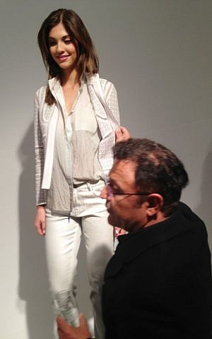 Elie Tahari making adjustments at his Spring 2014 show (Courtesy Eliora Katz)