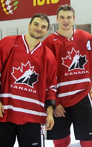 Zach Hyman (right) and his brother Spencer Hyman played for Canada at the 19th Maccabiah Games. (photo credit: Vitaly Cooperman/Rishon Devils Hockey Club)