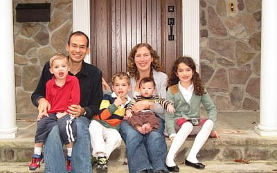 Author Dara Horn with her husband Brendan Schulman and their four children. (photo credit: Matthew Horn)