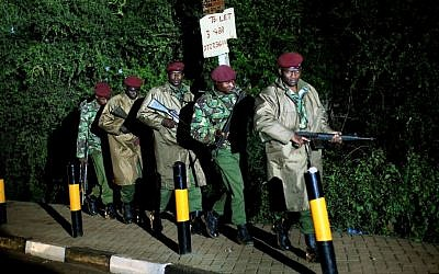 Kenyan Defense Forces in the vicinity of the Westgate Mall in Nairobi, Kenya, on Monday (photo credit: AP/ Jerome Delay)