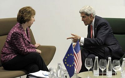 US Secretary of State John Kerry meets with European Union High Representative Catherine Ashton before the Meeting of EU Ministers of Foreign Affairs at the National Gallery of Art in Vilnius, Lithuania, Saturday, Sept. 7, 2013. (photo credit: AP/Susan Walsh)