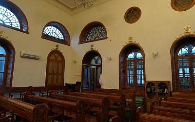 The interior of Krasnaiya Sloboda's Kulkati Synagogue. (photo credit: Cnaan Liphshiz/JTA)