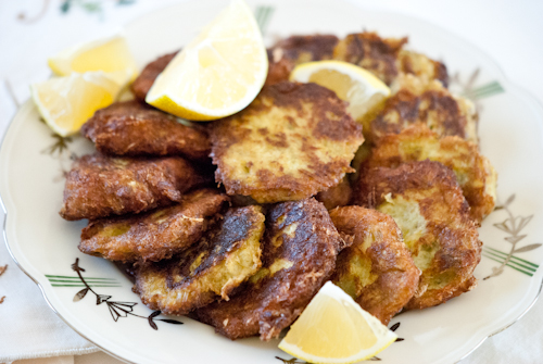 Leek patties are part of the Rosh Hashana series of blessings (photo credit: Katherine Martinelli/Cook In Israel)