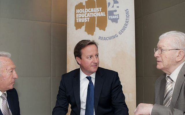 UK Prime Minister David Cameron meeting Holocaust survivors (left) Martin Bennet and Josef Perl on September 16, 2013. (photo credit: Blake Ezra Photography)