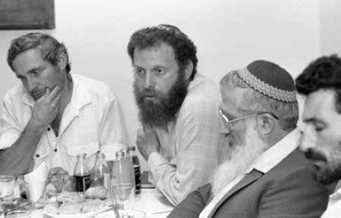 Meeting of Gush Emunim settlement leaders, July 1987. Hanan Porat is at far left, with Yoel Bin-Nun next to him. (photo credit: Shmuel Rabmani)