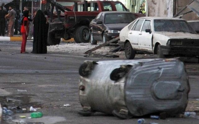 Illustrative photo of a car bombing in the Karradah neighborhood of Baghdad, Iraq (photo credit: AP/Hadi Mizban)