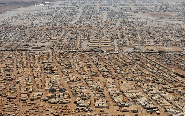 An aerial view of the Zaatari refugee camp, July 18, 2013 (photo credit: AP/Mandel Ngan/File)