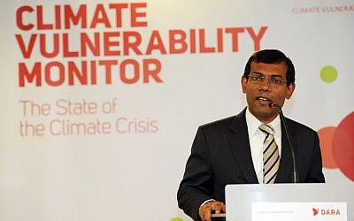 Then-Maldives president Mohamed Nasheed speaking at a climate change conference in 2010. (photo credit: CC BY Camadrilena/Wikipedia)