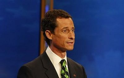 Anthony Weiner, during a televised debate in New York, Tuesday, Sept. 3, 2013. (photo credit:AP/The Wall Street Journal, Andrew Hinderaker)