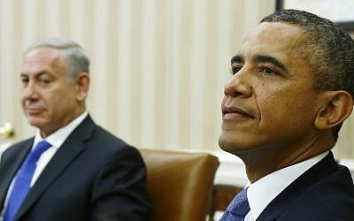 US President Barack Obama (right) and Prime Minister Benjamin Netanyahu (left) prepare for a press session in the White House in Washington, DC, September 30, 2013. (photo credit: AP/Charles Dharapak)