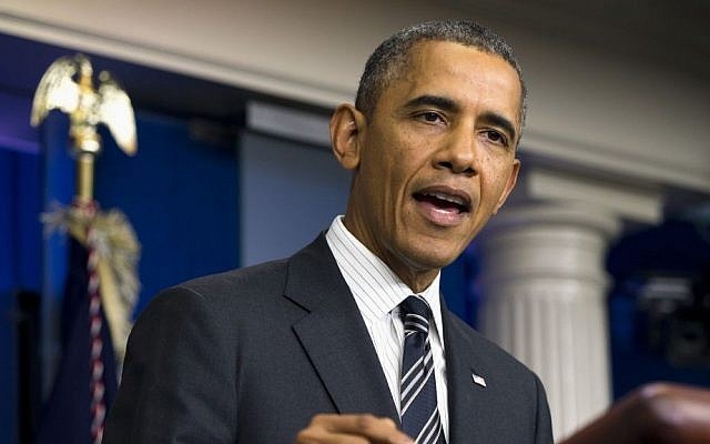 US President Barack Obama gestures while making a statement on Friday, Sept. 27, 2013 in the James Brady Press Briefing Room of the White House in Washington (photo credit: AP Photo/ Evan Vucci)
