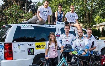 This year's 'Bike for the Fight' team on the road (photo credit: Courtesy)