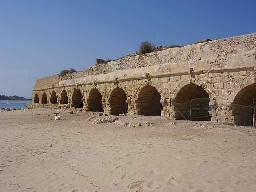 The Aqueduct Beach in Caesarea, free to one and all (Courtesy Wiki Commons)