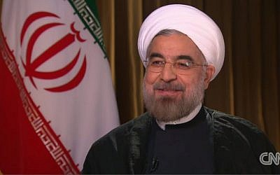 Iranian President Hasan Rouhani interviewed on CNN, September 24, 2013 (photo credit: CNN screenshot)