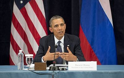 US President Barack Obama gestures while speaking in St. Petersburg, Russia, Friday, September 6, 2013 (photo credit: AP/Pablo Martinez Monsivais)