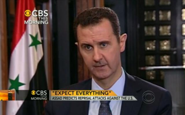 Bashar Assad speaking to Charlie Rose. (Screenshot: CBS News)
