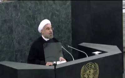 Iranian President Hasan Rouhani speaks to the UN General Assembly on September 24, 2013. (screen capture: UN live stream)