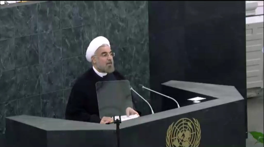 Iranian President Hasan Rouhani speaks to the UN General Assembly on September 24. (screen capture: UN live stream)