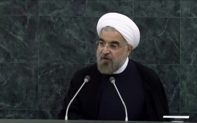 Iran's President Hasan Rouhani speaks to the UN General Assembly, September 24 (photo credit: UN screenshot)