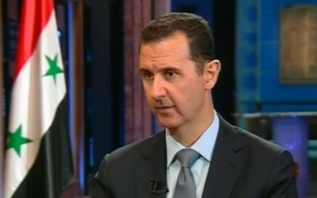 Syrian President Bashar Assad giving an interview in Damascus, September 2013 (photo credit: screenshot of Fox News)