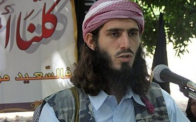 In this Wednesday, May 11, 2011 file photo, American-born Islamist militant Omar Hammami addresses a press conference of the militant group al-Shabab at a farm in southern Mogadishu's Afgoye district in Somalia. (photo credit: AP Photo/Farah Abdi Warsameh, File)