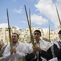 The annual priestly blessing at the Western Wall Sunday, September 22 (photo credit: Yonatan Sindel/Flash90)