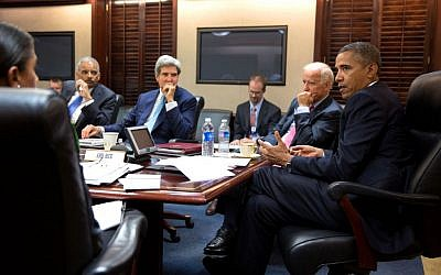 President Barack Obama meets with his national security staff to discuss the situation in Syria, in the Situation Room of the White House, August 30, 2013 (photo credit: AP/Pete Souza)